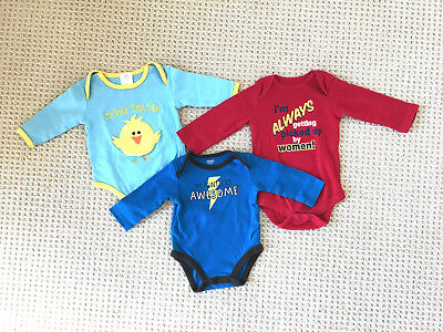 3 long-sleeve bodysuits Easter Chicks Dig Me, Auntie Is Awesome, Carter's, 6 mos