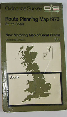 1973 Old vintage OS Ordnance Survey Route Planning Map South Sheet 1 in = 10 mil