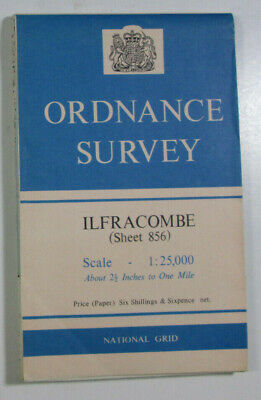 "1960 Old OS Ordnance Survey 1:25000 First Series 2.5"" Map 856 Ilfracombe & Lundy"