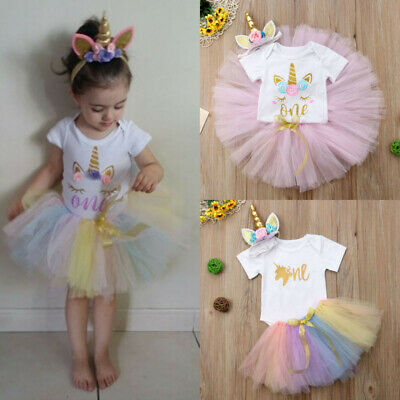 3 Set Baby Girl Year 1 Birthday Outfit Party Unicorn Romper Cake | Free Shipping