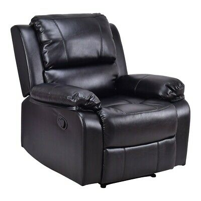 PU Leather Padded Reclining Manual Recliner Lounge Chair Room Relax Furniture