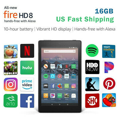 US Fast Shipping Amazon Kindle Fire HD 8 8th gen tablet 2018 Alexa 16 GB Black