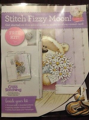 Fizzy Moon Bear Daisy Flowers Valentines Mothers Day Cross Stitch Card Kit