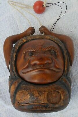 Great Antique Japanese Carved Demon Sagemono Tobacco Box With Coral Bead Ojime