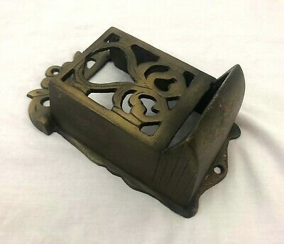 Vintage Wall Mount Heavy Cast Iron Match Stick Holder Gold Brass Color 7""