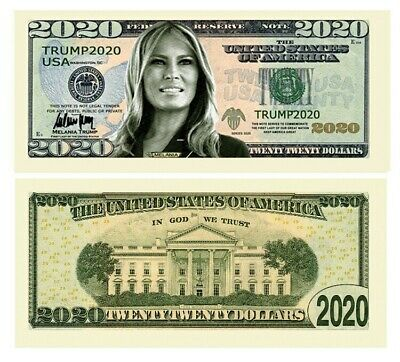 Melania Trump 2020 Re-Election First Lady Presidential Dollar Bill. (Set of 5)