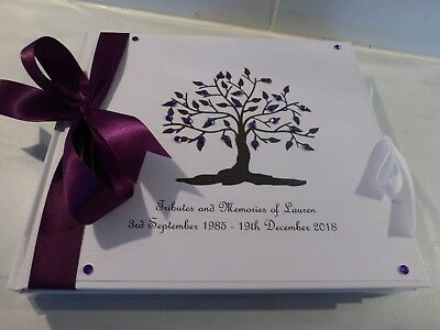 Personalised Condolence Bereavement Funeral memorial guest book tree of life **