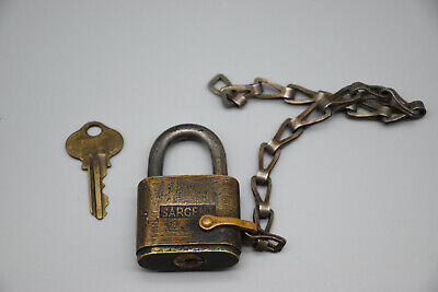 """Vintage Sargent Padlock with Shackle & Working Key, 9 """" Chain"""