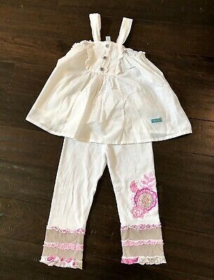 Naartjie Girls Outfit Size 6 White Blouse Shirt Top And Size 8 Pink White Pants