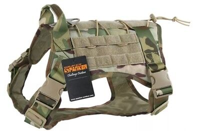 Spanker Tactical K9 Dog Training Harness Army Camo MEDIUM Molle Combat DG113