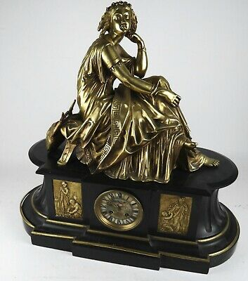 Huge 19th C French Dore Bronze & Marble Figural Reclining Woman Signed Machault
