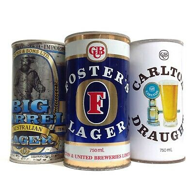 3 x Vintage 750ml Empty Beer Cans Tins
