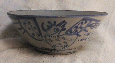 Very Good Ancient Antique Chinese Bowl With Bird Of Paradise Decoration