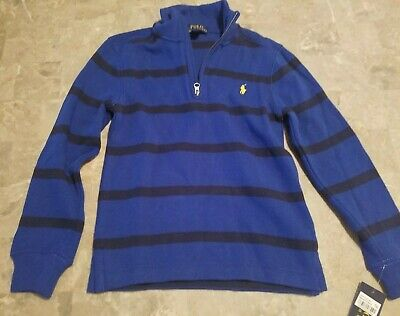 NWT Ralph Lauren Polo Toddler Boys Size 5 Blue Navy Striped Pullover Sweater