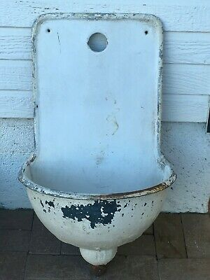 Antique French? Cast Iron Porcelain Enamel Wall Fountain Lavabo Sink From Europe