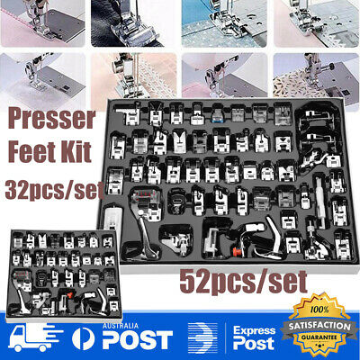32/52x Sewing Machine Foot Presser Stitch Guide Feet Set for Brother Singer Part