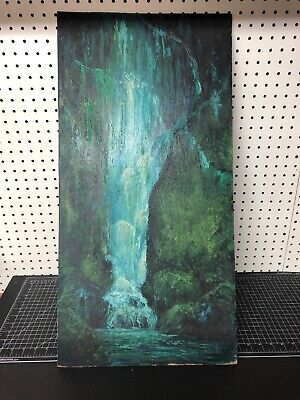 Vintage Original Oil Painting On Board Signed Wheeldon Waterfall 15x30""