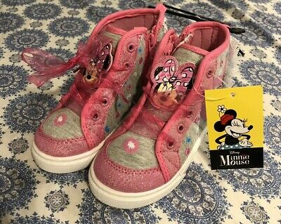 f02e97cdb9998 DISNEY HIGH TOP Minnie Mouse Girls Toddler Shoes Glitter Black Size ...