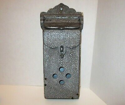 Vintage Ornate Cast Hammered Metal Mailbox Antique Wall Mounted Lockable Mail