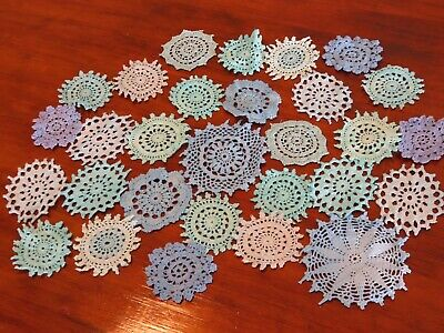 29 Crochet motifs mini doilies 10-6cm bulk ast BLUES