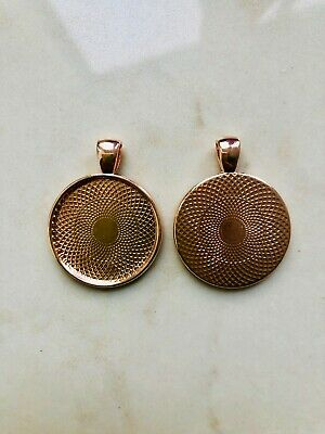 """10 x round rose gold plated pendants - 1"""""""
