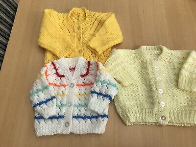 Bundle Of 3 Knitted Baby Cardigans 0-3 Months See Pics