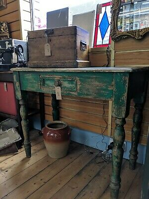 Antique Vintage Pine Hall Side Table Desk with Drawer Rustic Green Sideboard