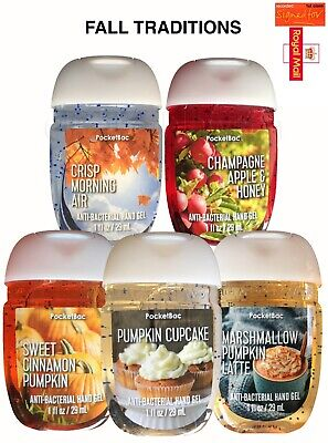 Bath and Body Works Pocketbac NEW FALL TRADITIONS HAND SANITIZER 5-PACK NEW