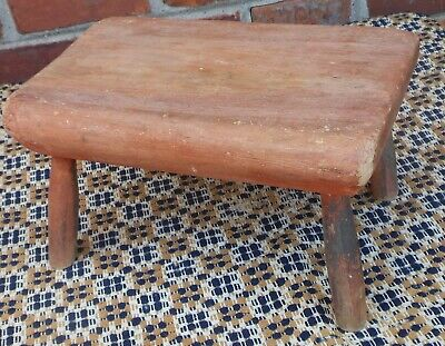 Good Cricket Footstool, Turned Legs, Thick Top, Faded Red Paint
