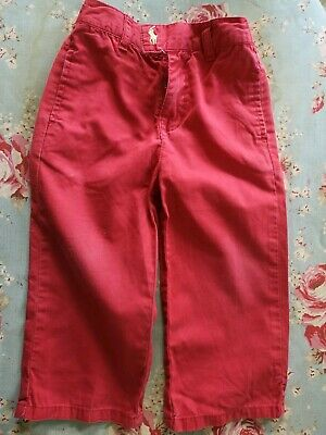 Used Unisex Red Cotton Ralph Lauren Faded Trousers 2yrs
