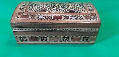 Antique Marquetry   Mosaic Trinket Jewelry Wooden Box