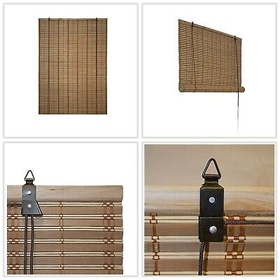 """46 x 64"""" Filtering Shades Privacy Drape Light Brown Bamboo Roman Wooden Roll"""