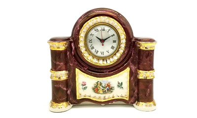 Vintage Porcelain Victorian Mantle Clock American Beauti-Lamp 22K Gold Trim