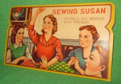 Vintage Sewing Susan Needle Complete Set 100 Gold Eye Needles with Threader NEW