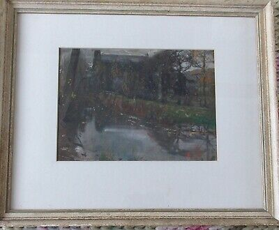 Archibald Standish Hartrick RWS OBE Scottish House River Landscape Painting Glas