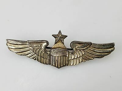 WW2 Senior Pilot USAAF 1939-1945 Sterling Wings Pin with Star