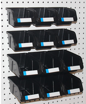Pegboard Bins - 12 Pk Kit Hooks to Peg Board - (6 Med & 6 Lg Bin) - Part Storage