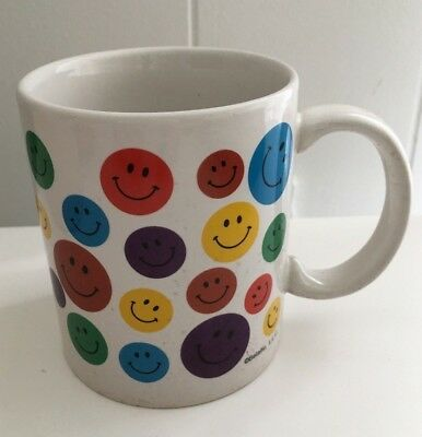 VINTAGE RARE MULTI Color RED YELLOW BLUE Smiley Happy Face Smile Cup Mug