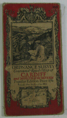 1919 OS Ordnance Survey Popular Edition One-Inch Map 110 Cardiff Mouth of Severn