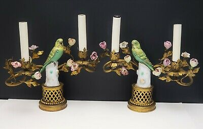 Antique French Gilt Bronze Candelabra Lamps w Parrot Porcelain Figurines Flowers