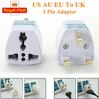 1/2/5x Universal Travel Adapter AU US EU to UK 3Pin Power Plug Adaptor Connector