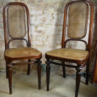 Antique Pair Thonet No. 32 Chairs 1883 Original Bentwood Cane Bergere
