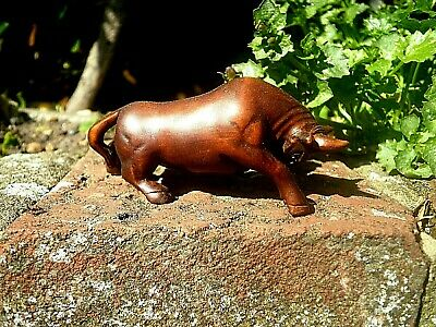 Hand Carved wood netsuke bull charges boxwood collectable netsky netski figurine