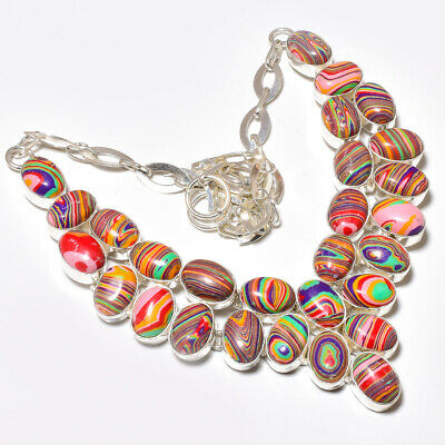 "Rainbow Calsilica Gemstone 925 Sterling Silver Necklace 17-18"" 1162"