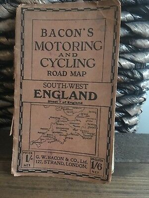 Bacons Motoring And Cycling Road Map Sheet 7.