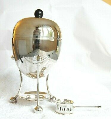 Antique Silver&Hard soldered Sheffield Walker and Hall 4 egg coddler with warmer