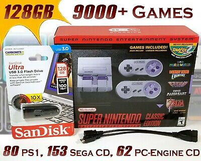 SNES Mini Classic Edition Modded with 9000+ Games 128GB OTG USB - Brand New