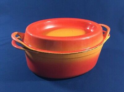 Vtg Le Creuset Doufeu Cast Iron Orange Flame #12 6 qt Oval Dutch Oven