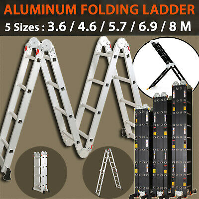 5.7M  6.9M 8M Multi Purpose Aluminium Folding Extension Ladder Step Scaffold