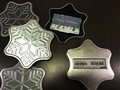 Lot 4 Amazon Happy Holidays Gift Cards Empty No Value Snowflake Tin Collectible
